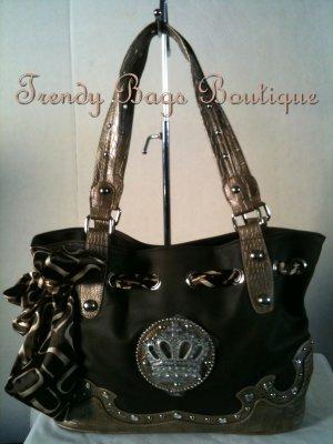 Brown CROWN Scarf with & RHINESTONES/Studs Tote Hobo Shoulder Bag Purse