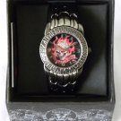 Mens RED FLAME SKULL Watch Water Resistant Stainless
