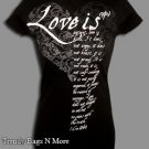 "NOTW Black Christian ""LOVE IS"" Juniors/Woman Black T-Shirt M/L"