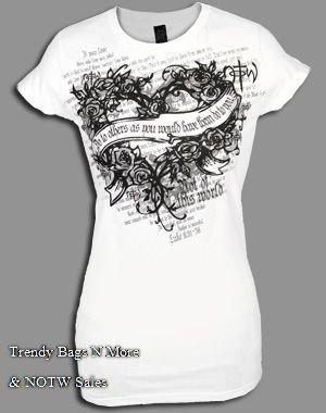 "NOTW White Christian ""DO LOVE"" Juniors/Woman T-Shirt M/L"