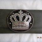 NWT Crown Gray/Dk Brown Rhinestone Wallet
