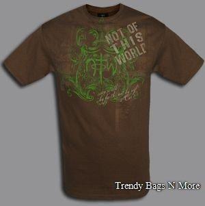 """NWT Christian """"FAITH PLAID"""" Mens/Boys Brwn T-Shirt L/XL"""