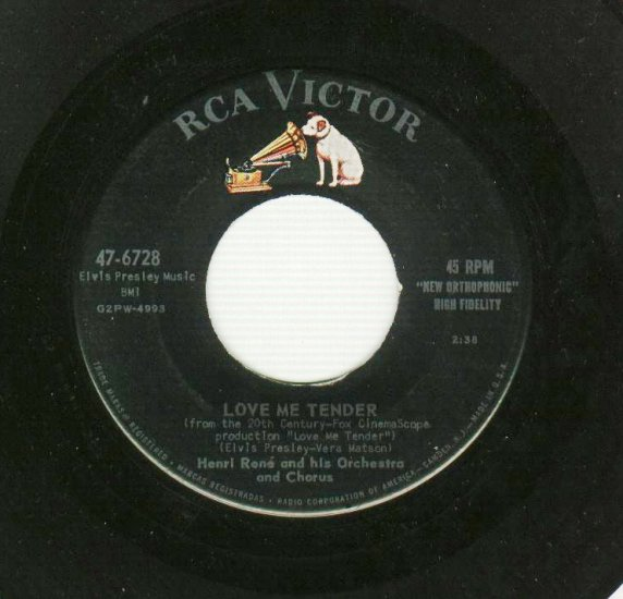 Henri Rene  Love Me Tender  45 rpm Record From Elvis Presley Movie