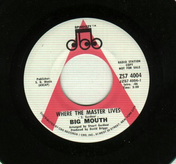 Big Mouth - Where The Master Lives - Soul 45 rpm PROMO