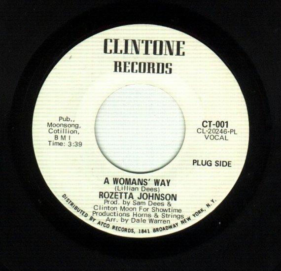 Rozetta Johnson - A Woman's Way - CLINTONE 001 R&B 45 rpm DJ issue