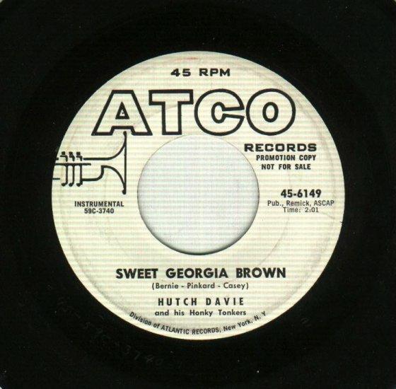 Hutch Davie Sweet Georgia Brown Promo 45 Record