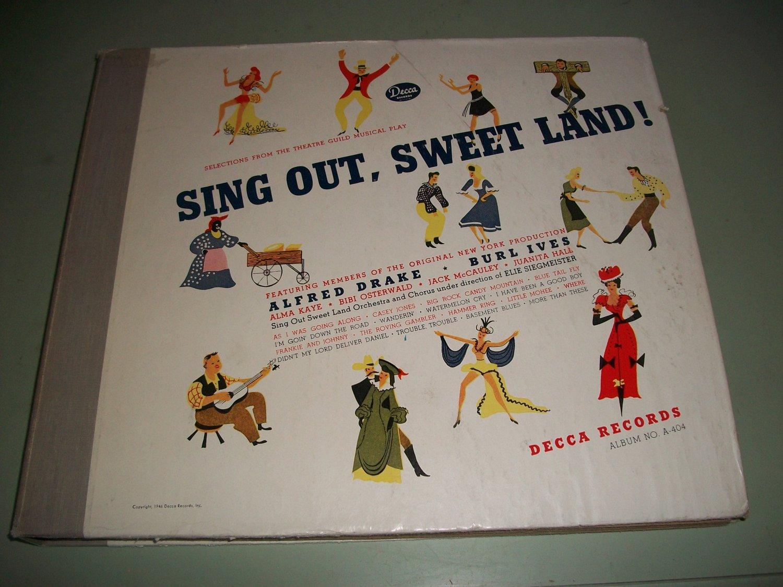 Sing Out Sweet Land - Burl ives Original Cast - 6 Record Album Set  78 rpm