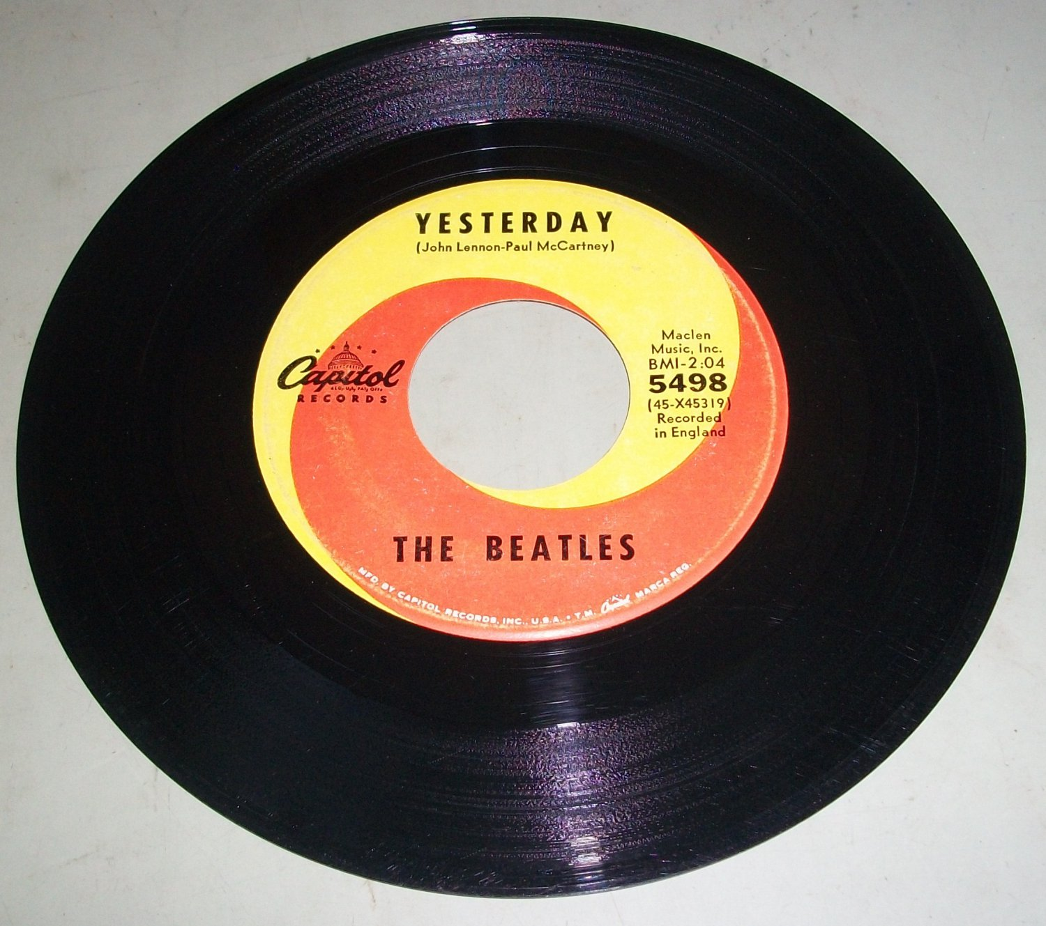 The Beatles Yesterday Act Naturally Capitol 5498