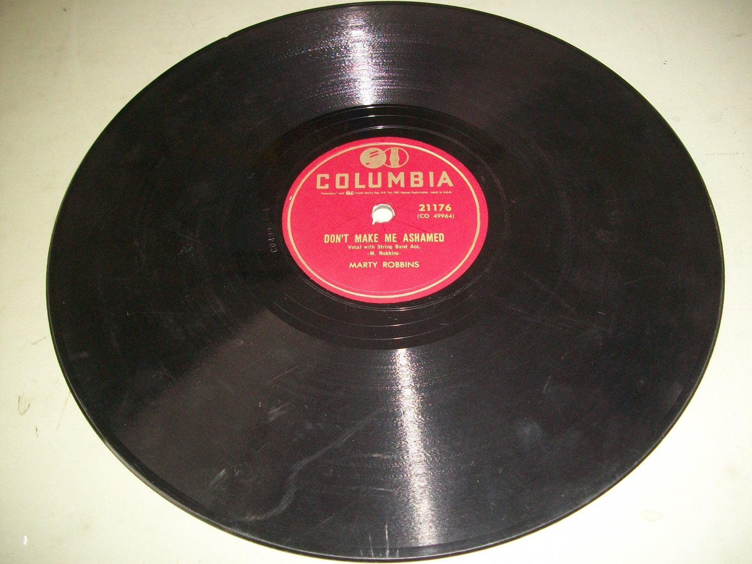 Marty Robbins - Don't Make Me Ashamed / It's A Long, Long Ride - COLUMBIA 21176 - Country 78 rpm