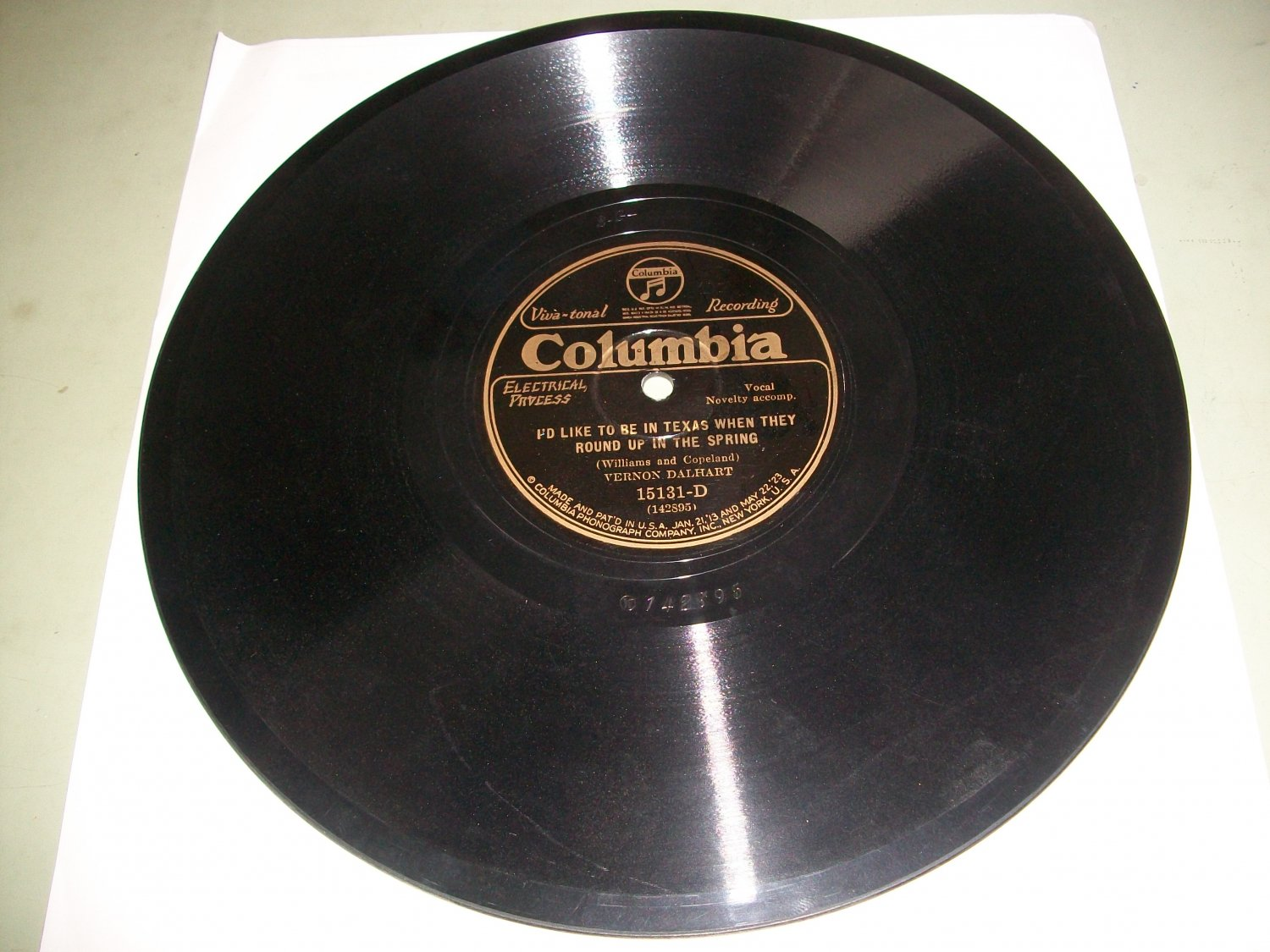 Vernon Dalhart - The Sad Lover / I'd Like To Be In Texas - COLUMBIA 15131 - Hillbilly 78