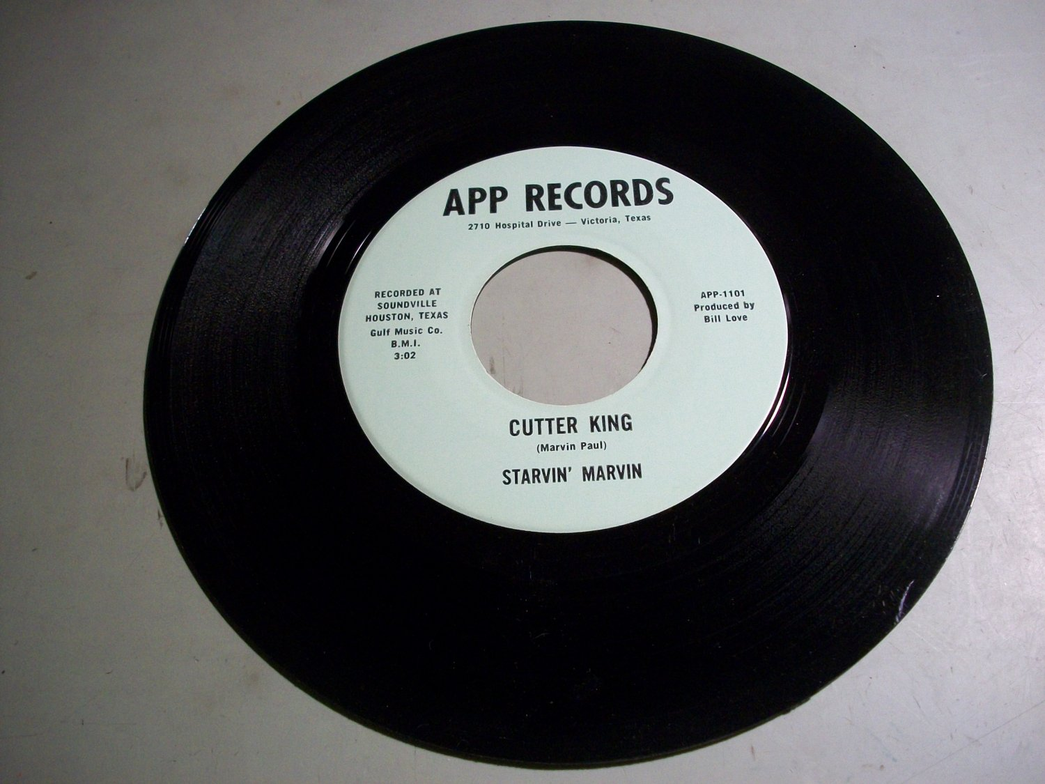 Starvin' Marvin - Cutter King / When She Gets Mad - APP 1101 - Texas  Label