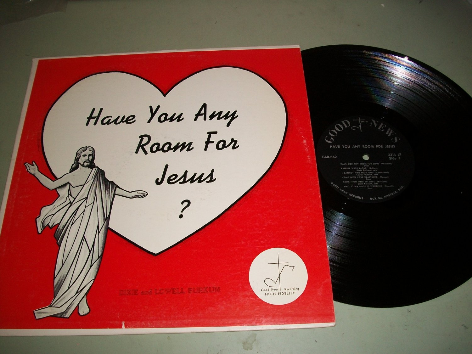 Dixie And Lowell Burkum - Have You Any Room For Jesus - GN 1003 - Record LP