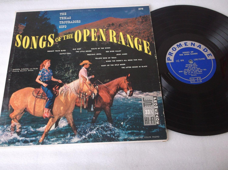 The Texas Troupadors Sing Songs Of The Open Range  PROMENADE 2078 Rhonda Fleming Cover Photo Record