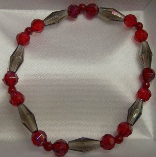 Red and Brown Glass Bead Bracelet