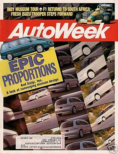 AutoWeek March 9, 1992 - Elliott F1 Indy Isuzu Trooper