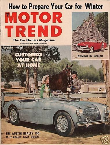 Motor Trend December 1953 -Austin Healey Spohn Motorama