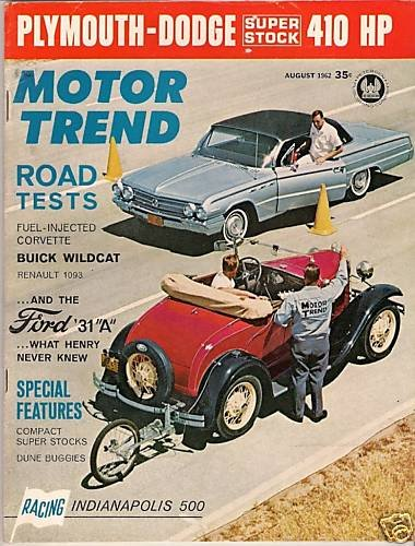 Motor Trend August 1962 - Corvette Wildcat Indy Stock