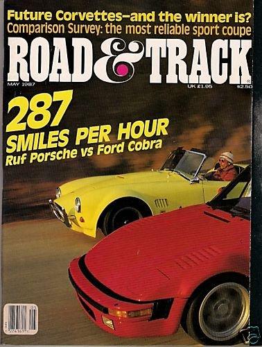 Road & Track May 1987 - Porsche Cobra Corvette Racing