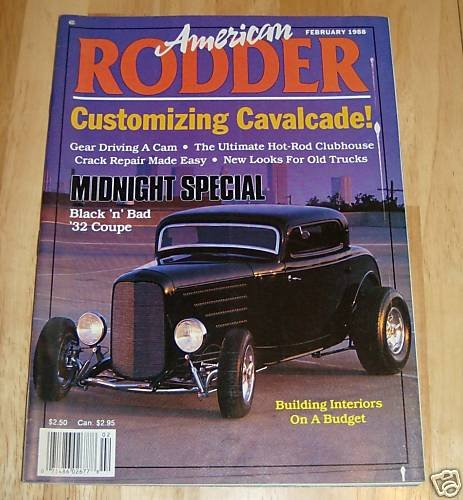 American Rodder February 1988 - Midnight '32 Coupe