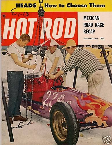 Hot Rod February 1955 -Vintage Car Magazine Racing Drag