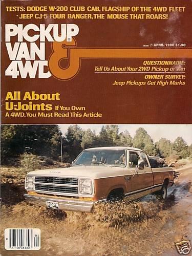 Pickup Van & 4WD April 1980 - Club Cab Jeep CJ-5 Fiat