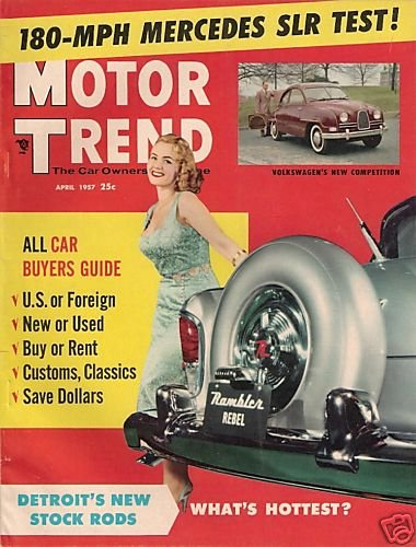 Motor Trend April 1957 - Mercedes Jaguar Vauxhall Stock