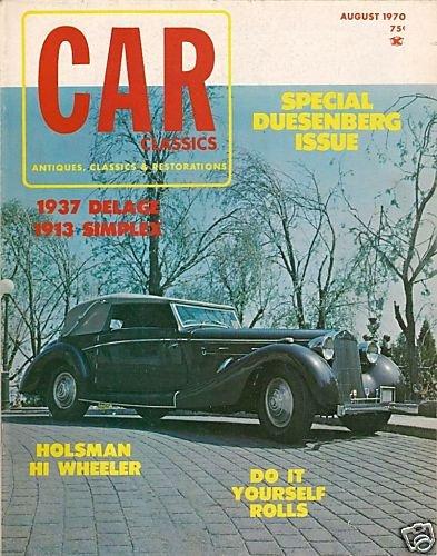 Car Classics Magazine August 1970 Duesenberg Simplex