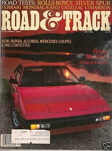 Road & Track November 1981 - Ferrari Accord Corvette MG