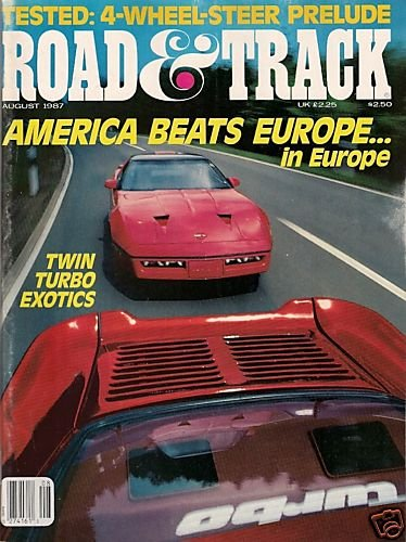 Road & Track August 1987 - Racing Exotics Corvette