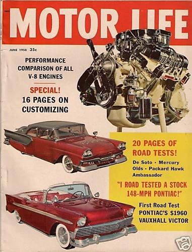 Motor Life June 1958 -Corvette Vauxhall Peugeot De Soto