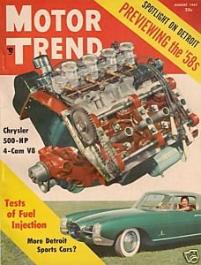 Motor Trend August 1957 - Corvette Thunderbird Golden