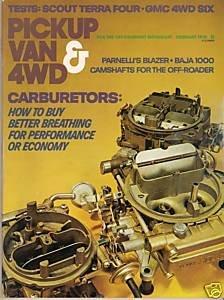Pickup Van & 4WD December 1976 Carburetor Fuel Economy