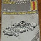Haynes Repair Manual Ford Thunderbird Cougar 1983-1988