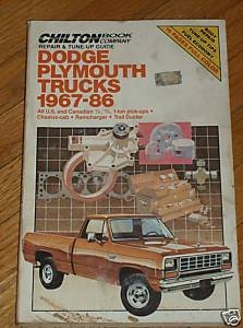 Chilton's Dodge Plymouth Trucks 1967-1986