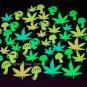 48 Piece Glow in the Dark Marijuana Weed Pot Leaves and Mushrooms