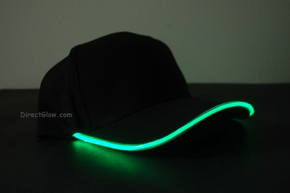 Green LED Lighted Black fabric Glow Hat