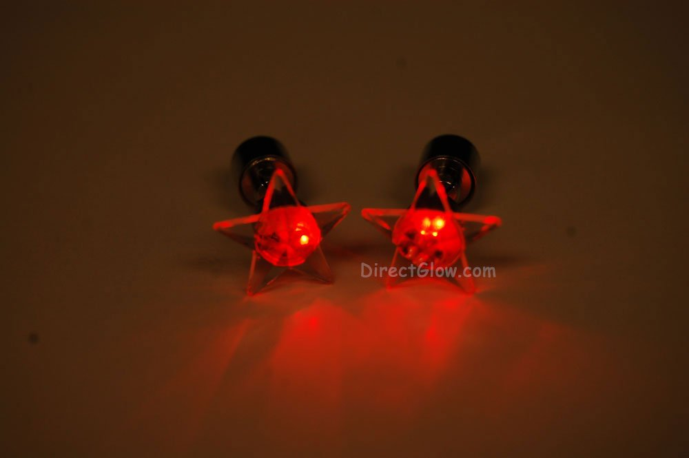 DirectGlow LLC 1 Pair Glowing LED Light Up Star Earrings- Red