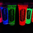 PaintGlow 10ml/.34oz UV Reactive Face and Body Paint- 6 Pack (FREE UV light)