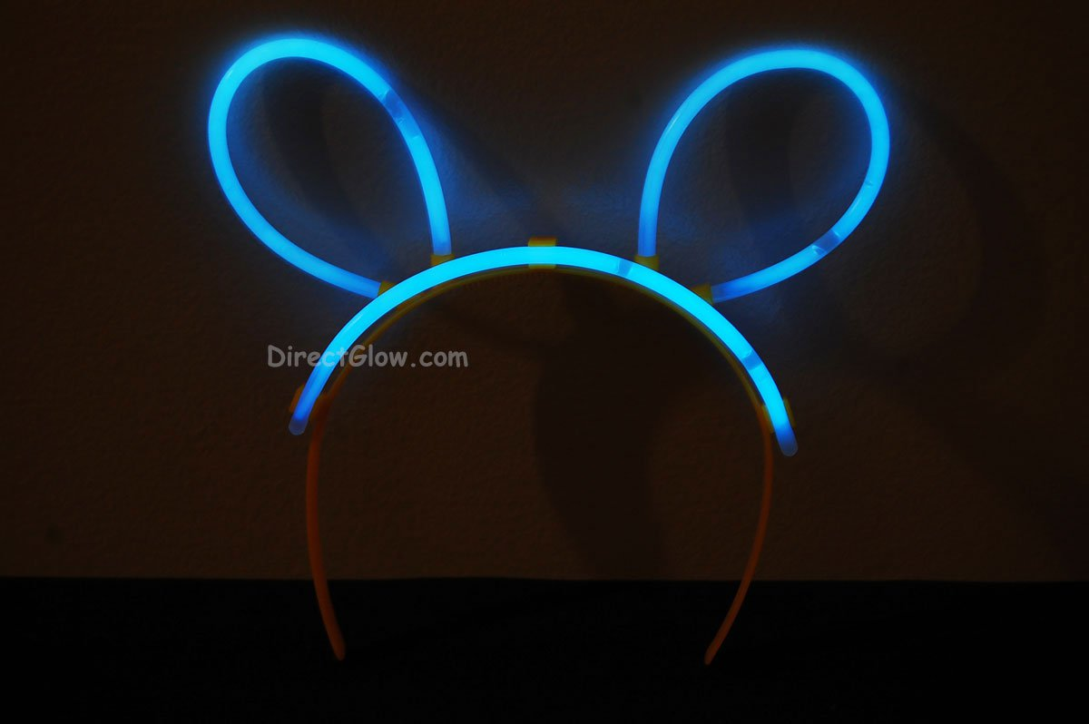 Set of 5 White (Tinted Blue) Glow Bunny Ears