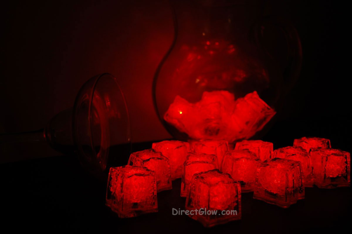 Set of 24 Red Litecubes Brand Light up LED Ice Cubes