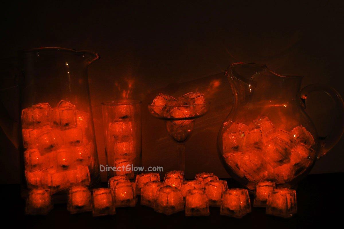 Set of 72 Orange Litecubes Brand Light up LED Ice Cubes