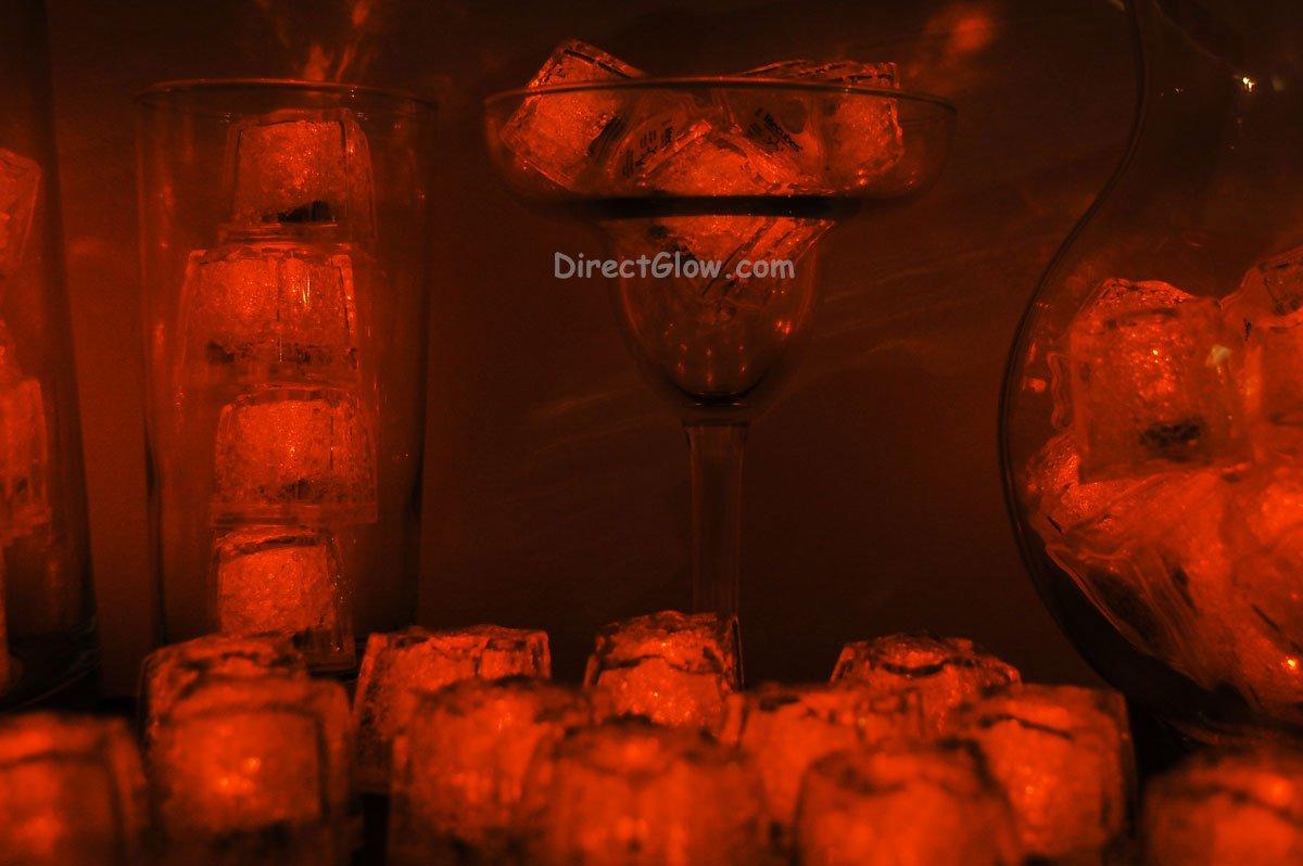 Set of 96 Orange Litecubes Brand Light up LED Ice Cubes