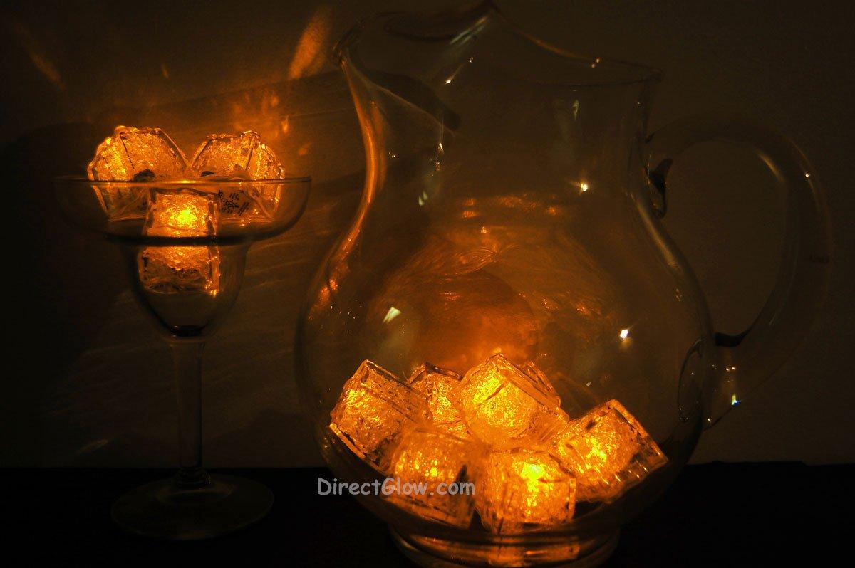 Set of 12 Yellow Litecubes Brand Light up LED Ice Cubes