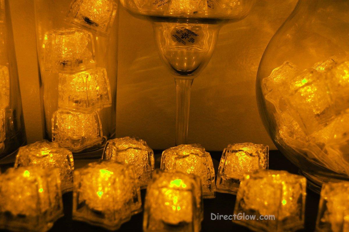 Set of 96 Yellow Litecubes Brand Light up LED Ice Cubes