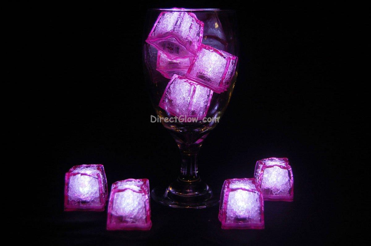 Set of 8 Litecubes Jewel Color Tinted Rose Pink Light up LED Ice Cubes