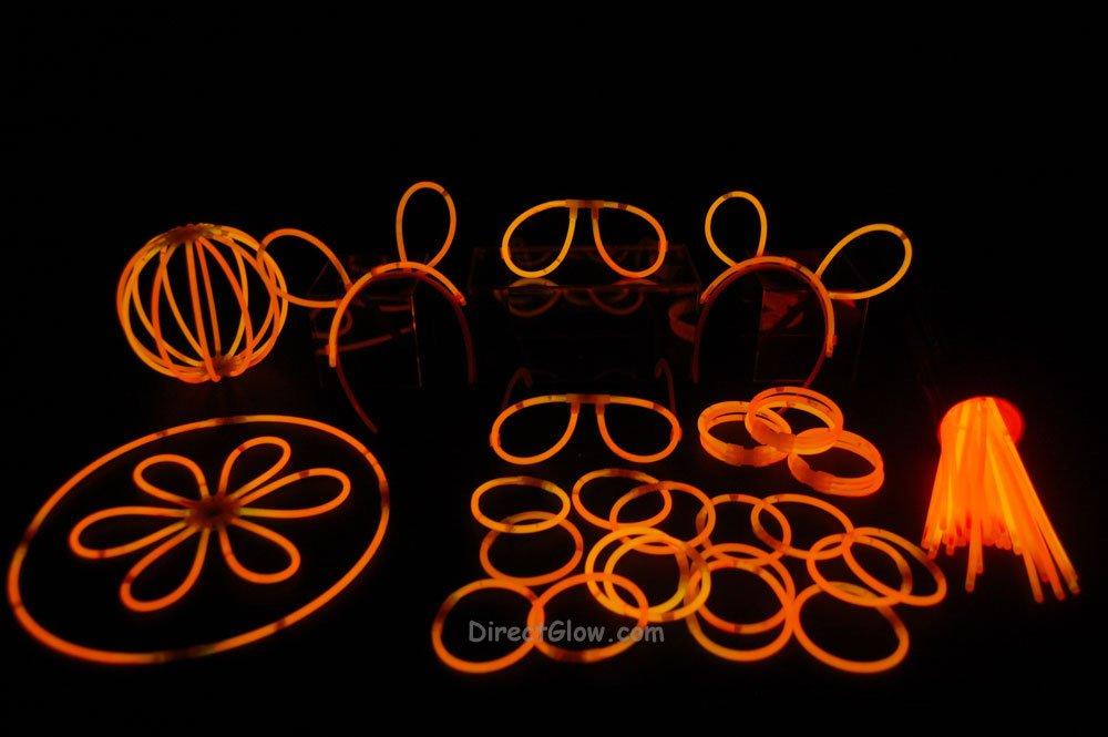 "100- 8"" Orange Glow Stick Bracelets Party Pack"