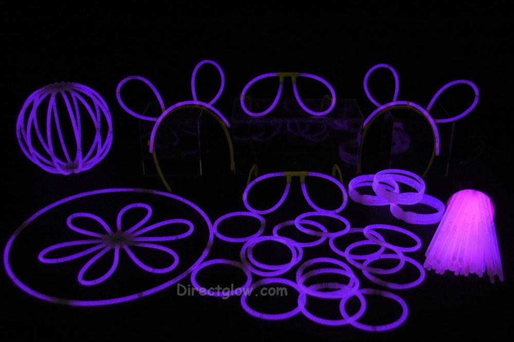 "100- 8"" Purple Glow Stick Bracelets Party Pack"