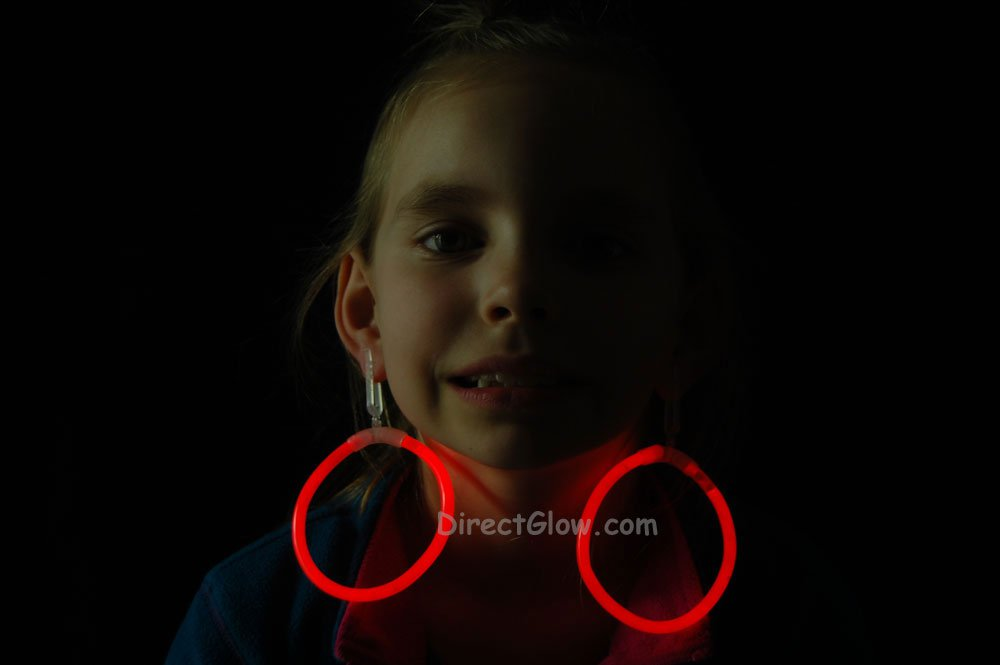 Red Glow Stick Clip On Hoop Earrings and Bracelets- 50 Pairs