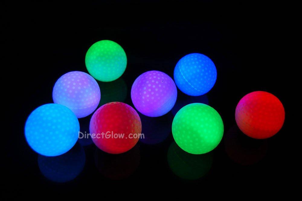Set of 8 Litecubes Brand RAINBOW Light up LED Golf Balls (Drink Novelty)