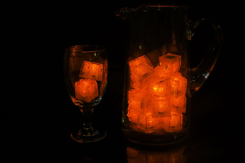 Set of 24 Litecubes  Brand Jewel Color Tinted Amber Orange Light up LED Ice Cubes